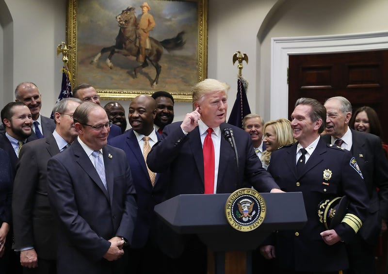 President Donald Trump makes an announcement regarding the 'First Step Act', prison reform bill, in the Roosevelt Room at the White House on November 14, 2018 in Washington, DC. (Photo by Mark Wilson/Getty Images)