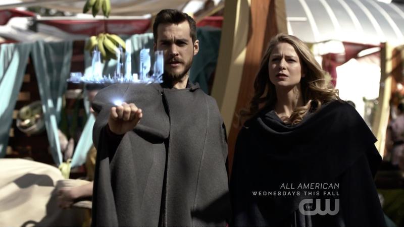 Mon-El (Chris Wood) and Supergirl (Melissa Benoist) rockin' some cloaks.