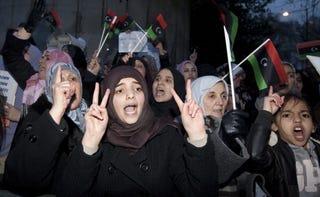 Women protest in Libya.