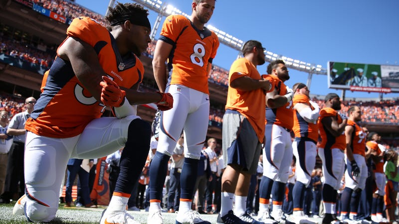 Brandon Marshall of the Denver Broncos takes a knee during the national anthem before the game against the Indianapolis Colts at Sports Authority Field Field at Mile High in Denver  on Sept. 18, 2016. (Justin Edmonds/Getty Images)