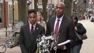 Martese Johnson and his attorney, Daniel Watkins, at a news conference in Charlottesville, Va.NBC News Screenshot