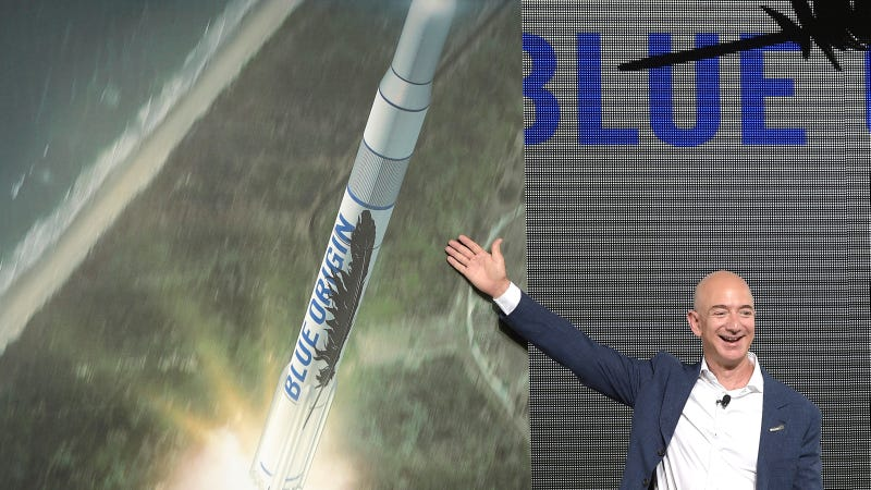 Amazon CEO and Blue Origin founder Jeff Bezos at a news conference at Cape Canaveral Air Force Station in 2015.