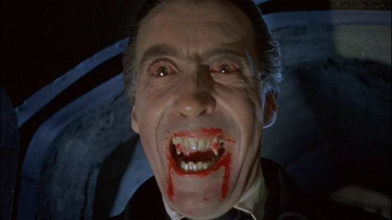 """No, I swear, it's just melted M&Ms!"" (Photo: Dracula (1958))"