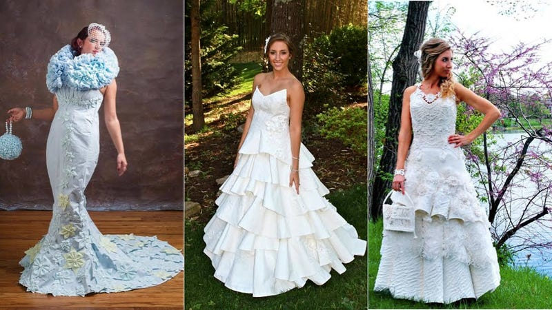 these wedding dresses made of toilet paper are surprisingly stylish