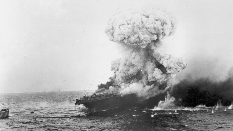 The USS Lexington explodes after being bombed by Japanese planes in the Battle of the Coral Sea in the South Pacific in June 1942, during World War II.