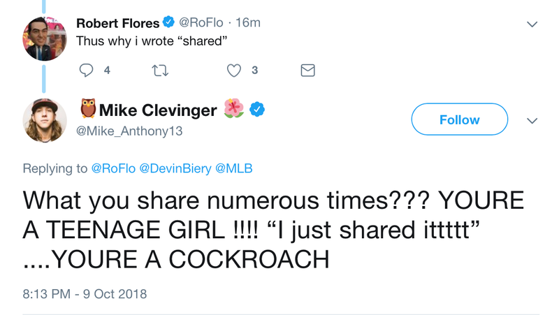 Illustration for article titled Mike Clevinger Is Just Ridiculously Angry At Robert Flores For Sharing A Silly Video