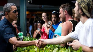 President Barack Obama greets well-wishers outside at Kailua Beach Center on Dec. 31, 2013, in Honolulu.Kent Nishimura-Pool/Getty Images