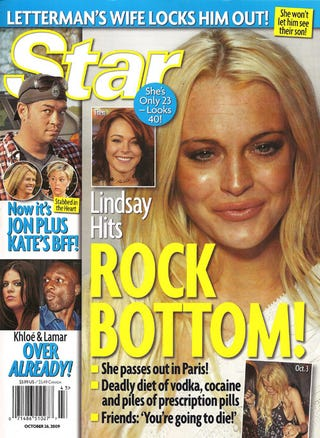 Illustration for article titled This Week In Tabloids: Lindsay's Coke- & Booze-Fueled Suicide Allegations
