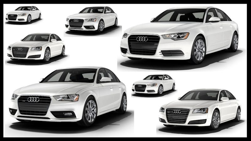 Illustration for article titled Audi's Boring Styling Has Turned Its Sedans Into Shoe Sizes
