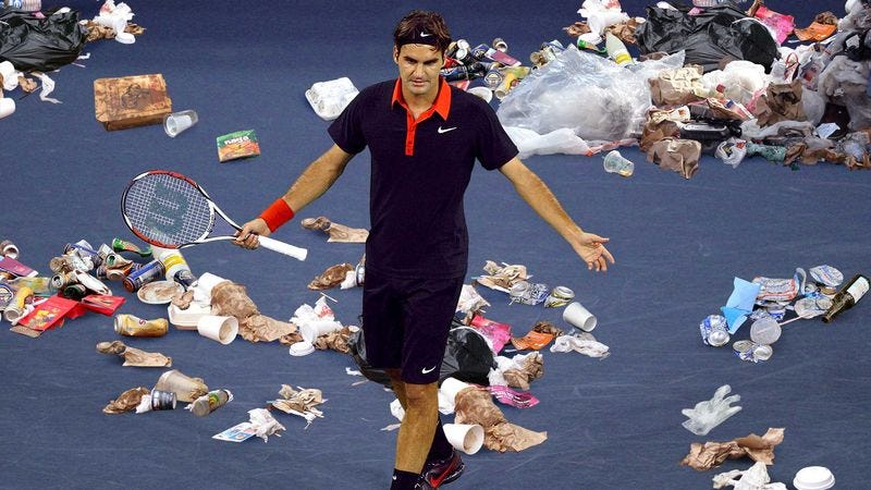 Illustration for article titled Roger Federer Stunned By Sheer Amount Of Trash On U.S. Open Courts
