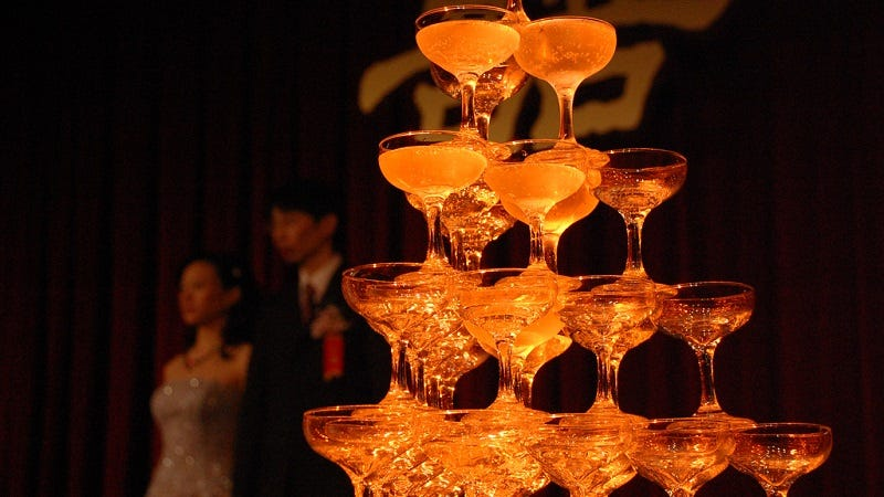 Class up your new years eve party with a champagne tower for Table 52 new years eve