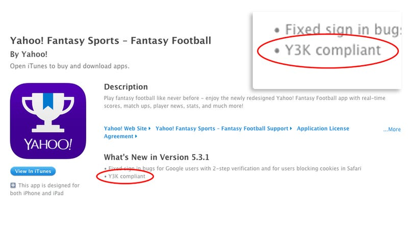 Illustration for article titled Your Yahoo Fantasy Sports App Is Ready for the Y3K Apocalypse