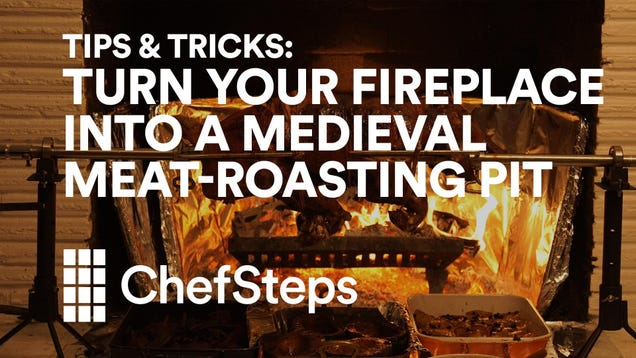 Turn Your Fireplace Into a Meat-Roasting Fire Pit