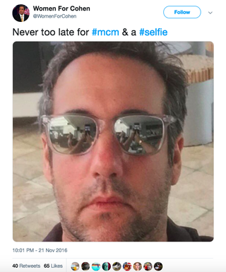 Illustration for article titled Michael Cohen Reportedly Paid Someone to Create a Fake Twitter Account Calling Him Hot and Smart