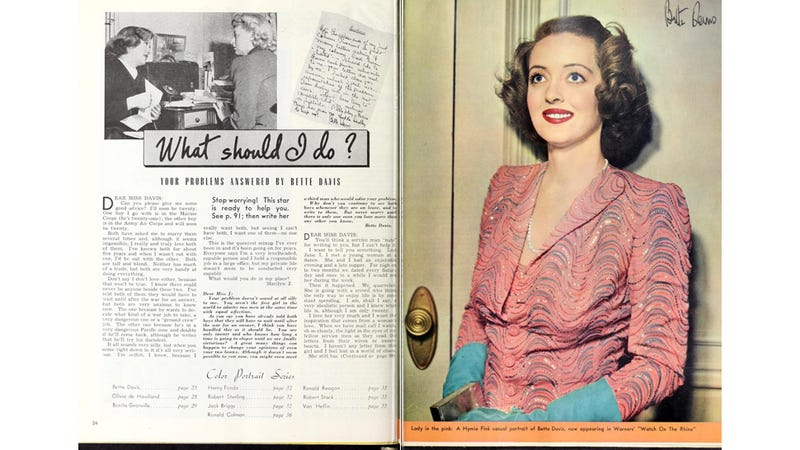 Illustration for article titled Lessons from a 1943 Advice Column by Bette Davis