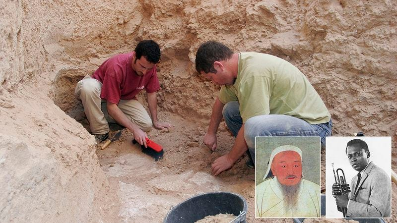 Illustration for article titled A Historic Find: Archaeologists Have Discovered The Tomb That Both Genghis Khan And Miles Davis Are Buried In