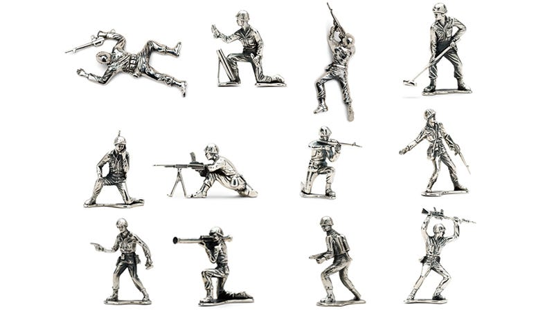 Illustration for article titled Sterling Silver Army Men Guarantee Your Kids Are Adequately Spoiled
