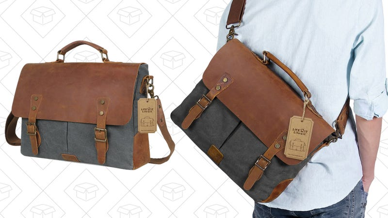 "Lifewit Genuine Leather Vintage 15.6""Laptop Messenger Bag, $42 with code PLTAXKZI"