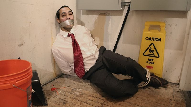 Illustration for article titled Bound, Gagged Joaquin Castro Horrified By What His Identical Twin Brother Might Be Doing Out On DNC Floor