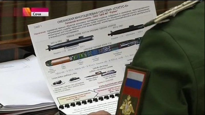 """Illustration for article titled Russian TV """"Accidentally"""" Leaks Footage of Classified Nuclear TorpedoDesign"""