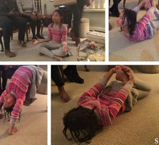 "Emmy ""centers"" herself after Thanksgiving dinner with some yoga.Courtesy of Aliya S. King"