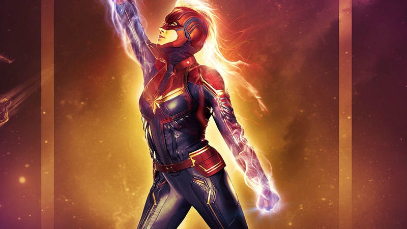 A binary Captain Marvel shines in a new IMAX poster.
