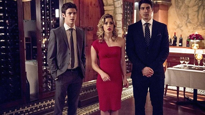 Grant Gustin, Emily Bett Rickards, Brandon Routh/The CW