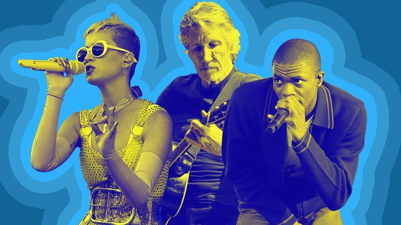 Katy Perry (Photo: Kevin Winter/Getty Images), Roger Waters (Photo: Steve Jennings/Getty Images), and Vince Staples (Photo: Scott Dudelson/Getty Images). Graphic: Natalie Peeples.