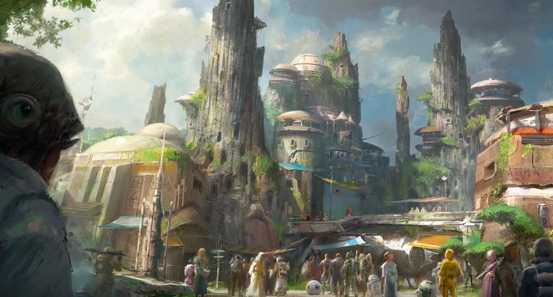 Concept art from the 2019 Star Wars themed lands coming to Disney. Image: Disney