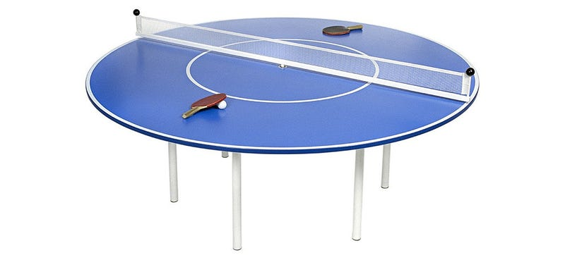 Illustration for article titled A Round Ping Pong Table With a Spinning Net Makes College Even Harder