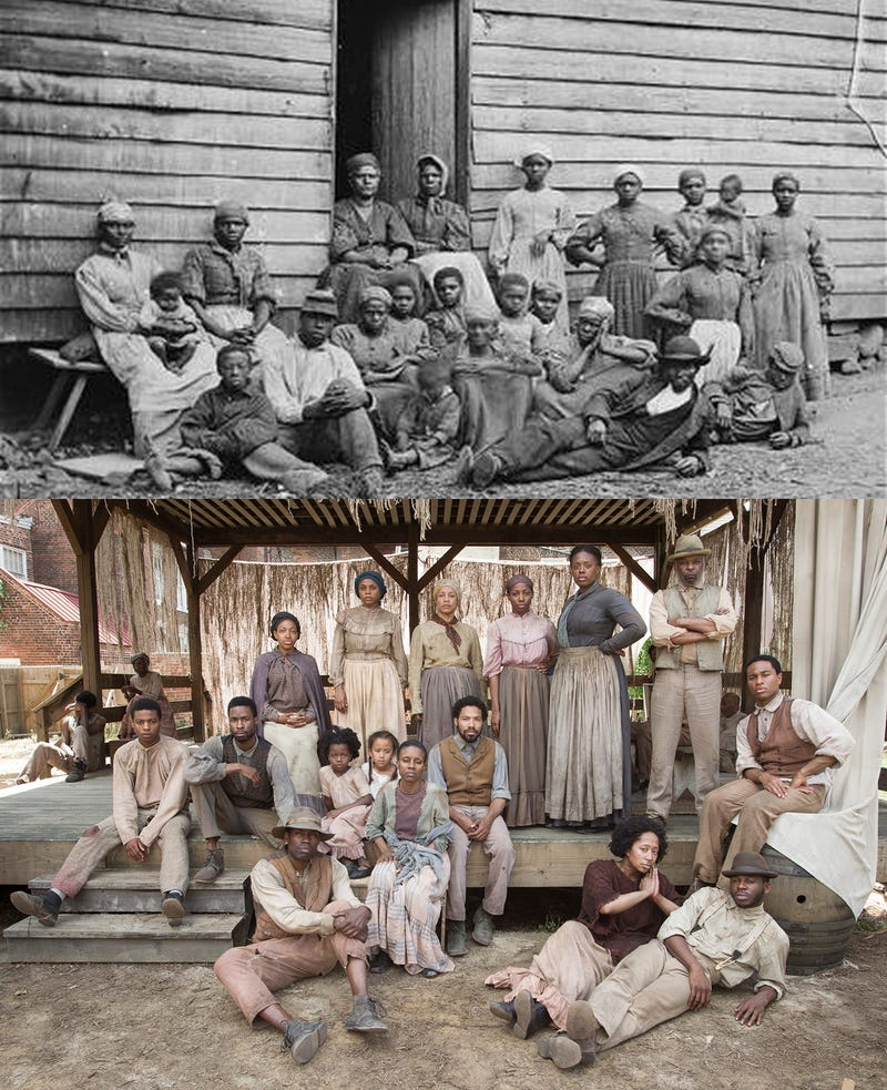 """Top: Group of """"contrabands"""" at Foller's house, 1862. Bottom: Cast of Mercy Street.Top: James F. Gibson/Library of Congress. Bottom: PBS."""