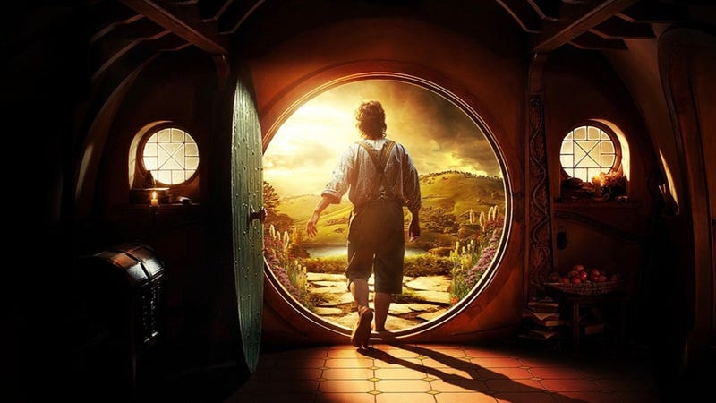 Bilbo Baggins steps out into the world from his very large dwelling, Bag End.