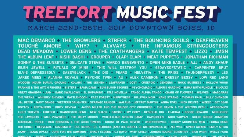 Illustration for article titled Treefort Music Festival announces new wave of bands, including Alvvays, AJJ, and more