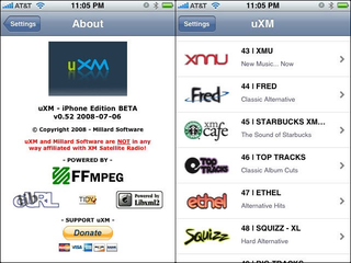 Illustration for article titled uXM For iPhone Streams XM Satellite Radio
