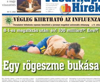 Illustration for article titled Orbán a fűbe harap a Vasárnapi Hírek brutális címlapján