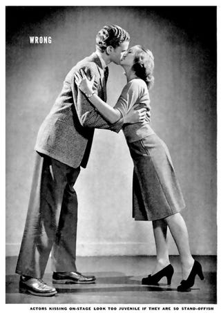 Illustration for article titled How to kiss from a 1942 edition of Life magazine
