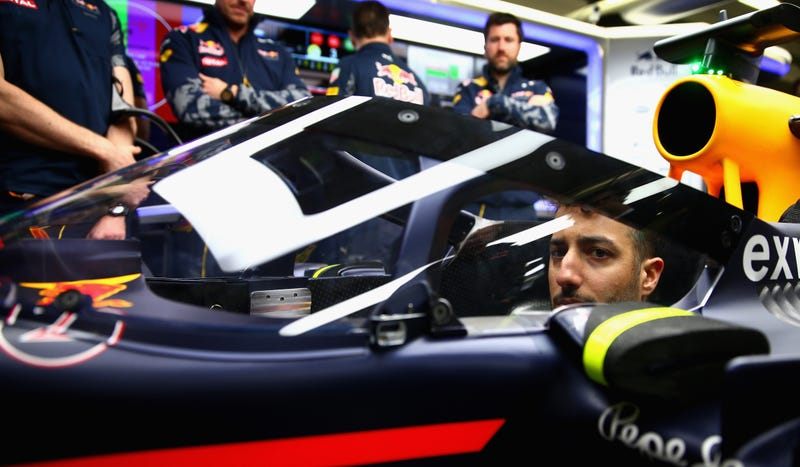 Red Bull's aeroscreen, one of two open-ish proposed designs for better F1 cockpit protection. Photo credit: Getty Images