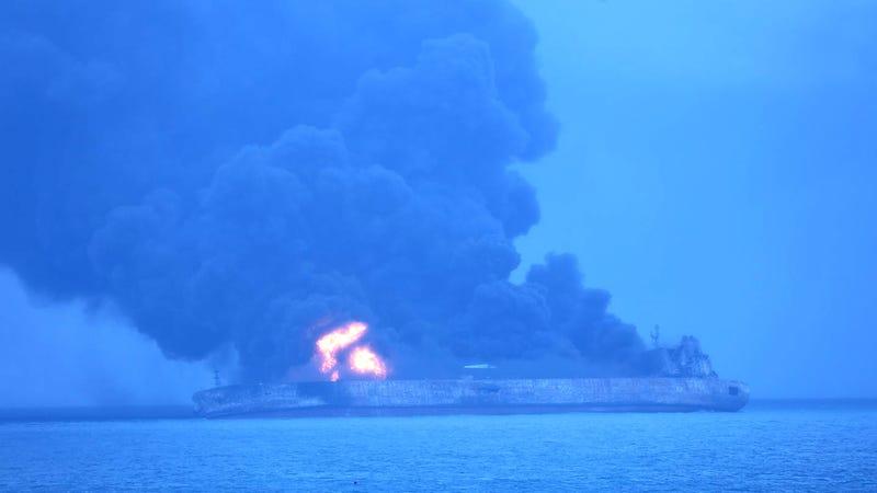 The Sanchi burns about 160 nautical miles from the coast of China. (Image: Korea Coast Guard/AP)