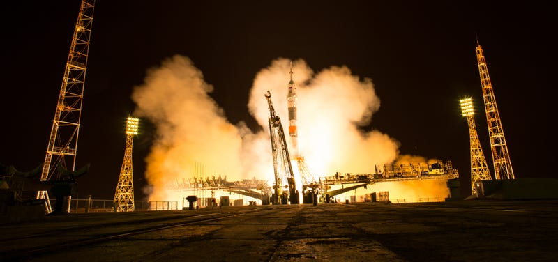 The Soyuz MS-08 rocket launched with Expedition 55 Soyuz Commander Oleg Artemyev of Roscosmos and astronauts Ricky Arnold and Drew Feustel of NASA, Wednesday, March 21, 2018, from the Baikonur Cosmodrome in Kazakhstan for a five-month stay aboard the International Space Station. The trio will orbit Earth for approximately two days before docking to the space station's Rassvet module at 3:41 p.m. Friday, March 23. (NASA)