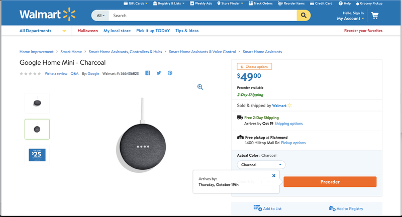 Wal-Mart lists Google Home Mini smart speaker ahead of official launch