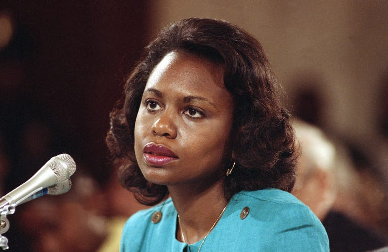 Anita Hill testifying before the Senate Judiciary Committee on Capitol Hill in Washington, D.C., on Oct. 11, 1991 (Greg Gibson/AP Images)
