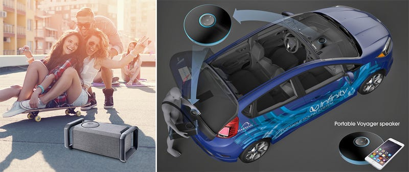 Illustration for article titled Harman's Voyager Drive Speakers Let You Take Your Car's Sound System With You