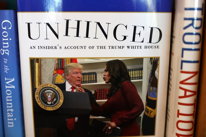 A new book by Omarosa Manigault Newman, Unhinged: An Insider's Account of the Trump White House, is displayed on a shelf at Book Passage on August 14, 2018 in Corte Madera, Calif.