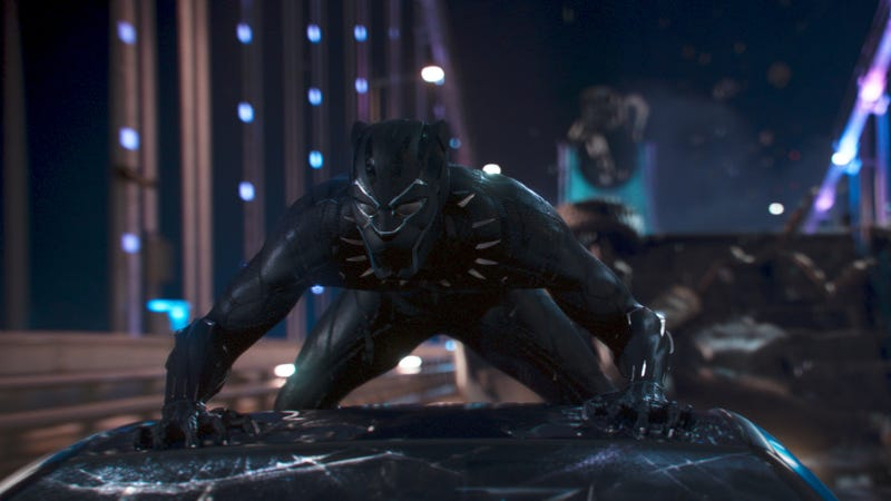 Black Panther pounces for justice in a scene from Black Panther.