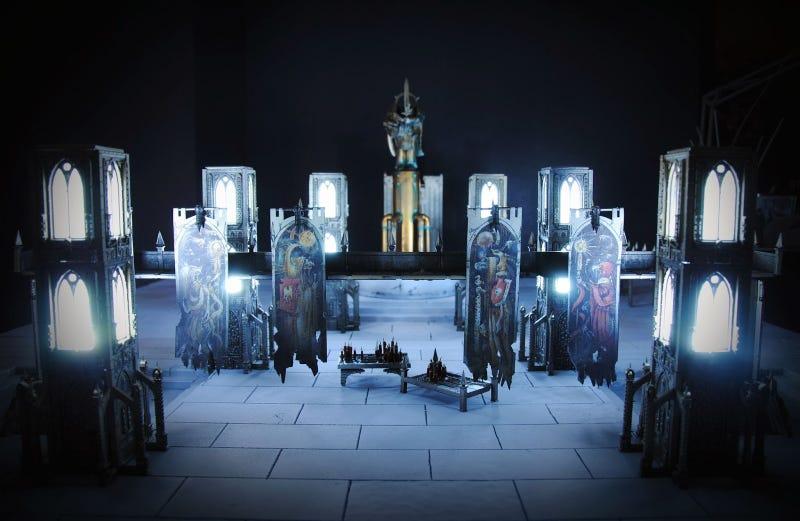 Illustration for article titled Light-up Warhamer 40k tabletop cathedral