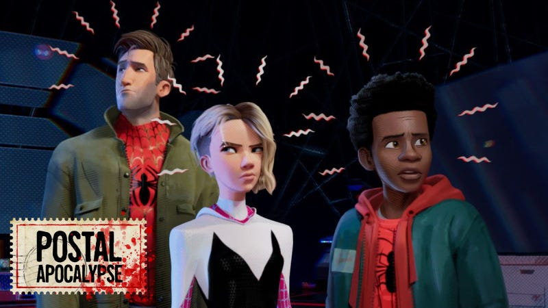 Peter Parker, Spider-Gwen, and Miles Morales seen first hearing about the Morbius movie.