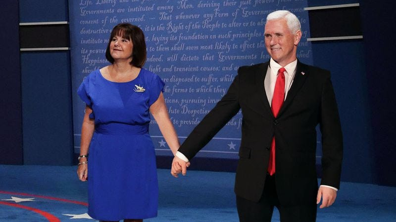 Illustration for article titled Mike Pence Brings Wife Up Onstage To Help Demonstrate How Much Contact Appropriate Before Marriage