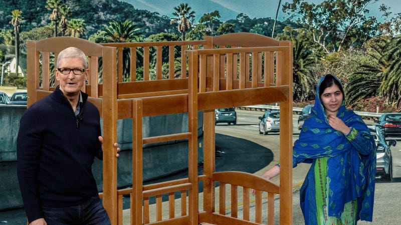 Illustration for article titled Hot Hot Hollywood: Tim Cook And Malala Yousafzai Were Spotting Together Dragging Their New Bunk Bed Down The Santa Monica Freeway