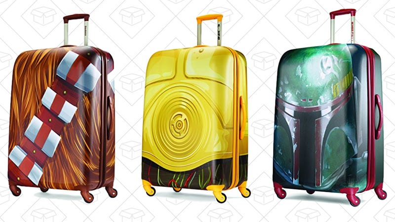 American Tourister Star Wars Hardside Spinner 28, Chewbacca, $68American Tourister Star Wars Hardside Spinner 28, C3PO, $68American Tourister Star Wars Hardside Spinner 28, Boba Fett, $78