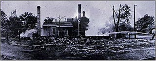 Damage to black residential area during race riots in Springfield, Ill., in 1908Wikimedia Commons